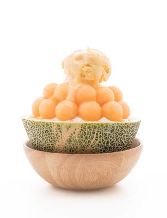 Cantaloupe: Ice melon Bingsu, famous korean ice-cream on white background