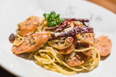 stirred: stir-fried pasta with germany sausage