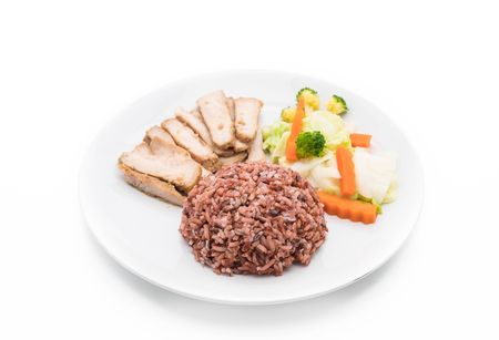 clean food: roast pork with berry rice - clean food Stock Photo