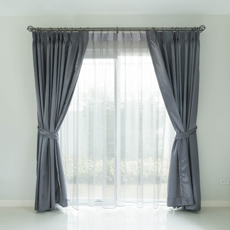 empty room background: Curtain interior decoration in living room with sunlight