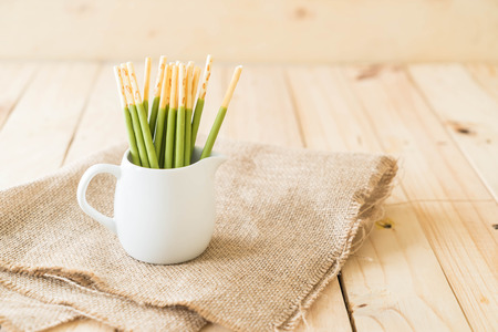 biscuit stick with green tea flavored Stock Photo