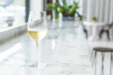 sparking: a glass of sparking wine in restaurant Stock Photo