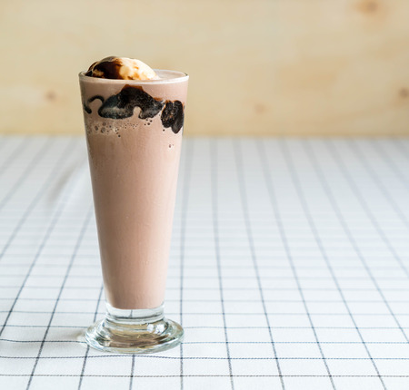 frappe: chocolate frappe with vanilla ice-cream on top