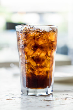 carbonation: iced cola glass on the table