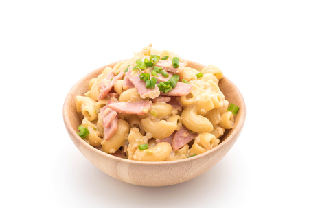 macaroni with cheese: macaroni cheese and ham on white background