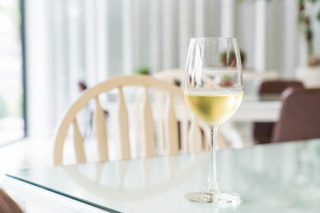 a glass of sparking wine in restaurant Stock Photo