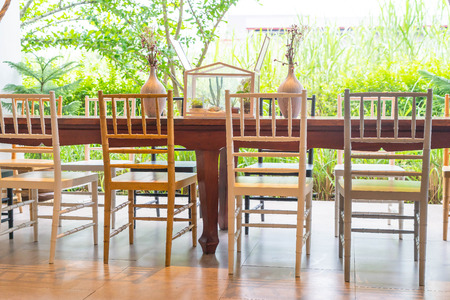 house ware: table set on wooden dinning table Stock Photo