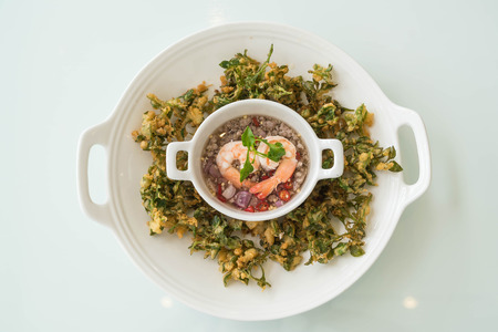 Crispy deep fried water cress spicy salad - asian food