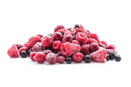 frozen mixed berry on white background Banco de Imagens