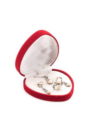 ear ring: beautiful and luxury necklace jewely with ring ,ear rings set in box on white background