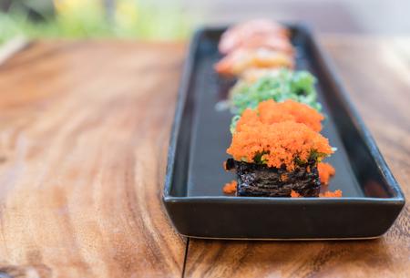 spawn: spawn eggs sushi with mixed sushi set - japanese food