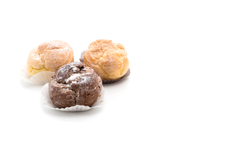 cream puff on white background
