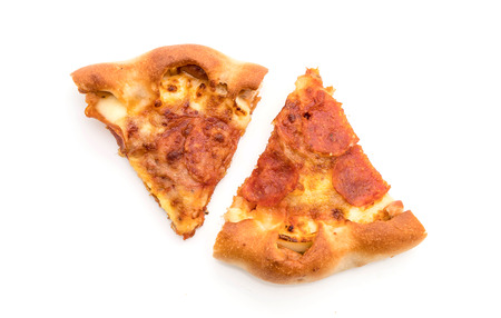 Homemade Pepperoni Pizza on white background - Unhealthy and Junk food