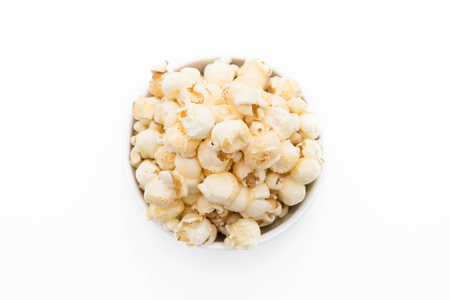 caramel popcorn on white background Stock Photo