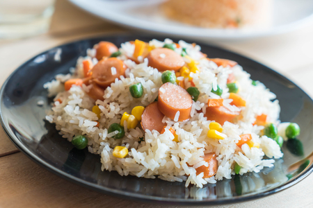 fried rice with sausage on the table Stock Photo