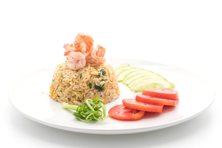 fried rice with shrimps on white background Stock Photo