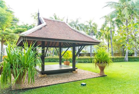 pavillion: Old wood pavillion located in park Stock Photo