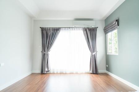 Vacío, cortina, interior, decoración, pared, sala Foto de archivo