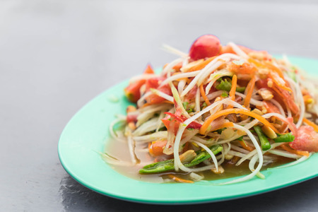spicy papaya salad (som tum) - thai food