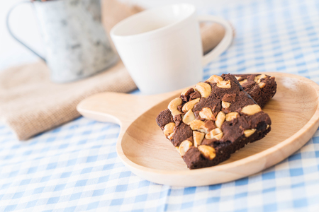 chocolate brownies on the table Stock Photo