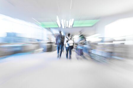 abstract blur in airport  for background - blue white balance processing style