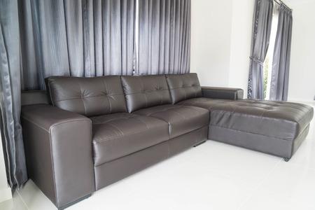 modern living: modern sofa interior decoration in living room Stock Photo