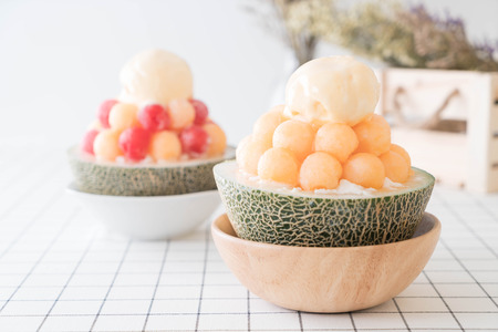 Ice melon Bingsu, famous korean ice-cream on table