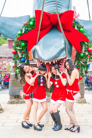 hung: OSAKA, JAPAN - Nov 21, 2016 : Photo of the JAWS,one of the most famous attraction at Universal Studios in Osaka, Japan.
