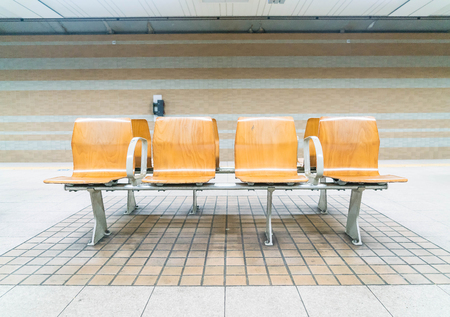 empty bench in a subway station.