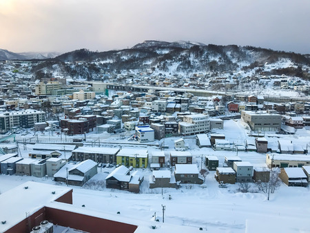 Otaru city view with snow ,Hokkaido Japan