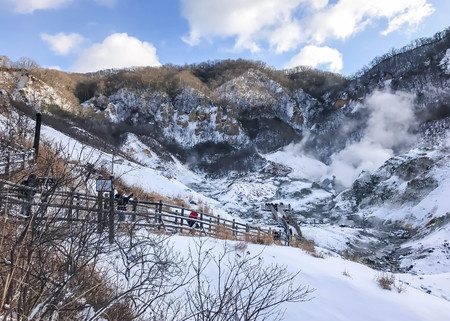 Jigokudani, known in English as Hell Valley is the source of hot springs for many local Onsen Spas in Noboribetsu, Hokkaido, Japan.