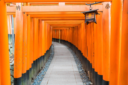 shinto: the red torii gates walkway at fushimi inari taisha shrine in Kyoto, Japan