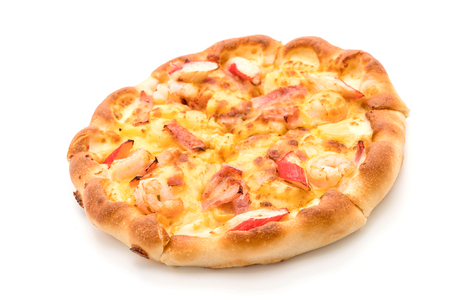 hawaiian seafood pizza isolated on white background - Unhealthy and Junk food