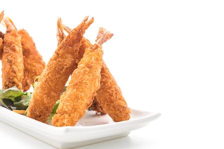 batter-fried prawns on white background