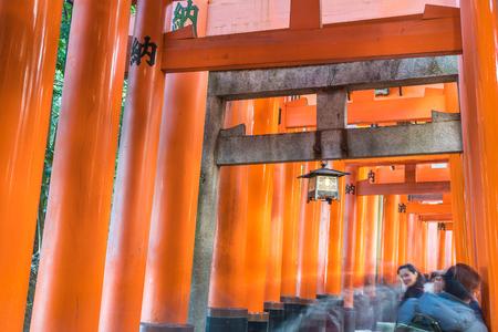 KYOTO, JAPAN - NOV 23, 2016: Torii Gateways in Fushimi Inari Taisha Shrine in Kyoto, Japan.