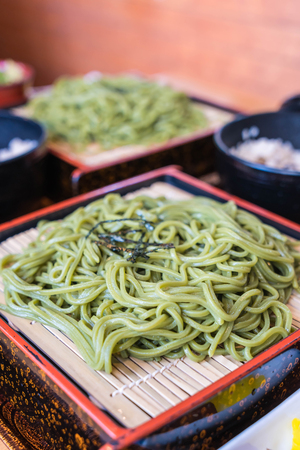 Japanese Cha Soba (Green tea Soba) in dish - Selective focus point