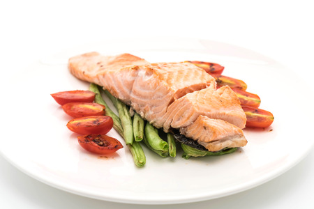 prepared: grilled salmon steak on white background Stock Photo