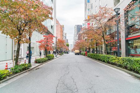 TOKIO, JAPÓN - 16 de noviembre de 2016: Paisaje urbano en el distrito Ginza de Tokio. Ginza es reconocida por muchos como uno de los distritos comerciales más lujosos del mundo. Editorial