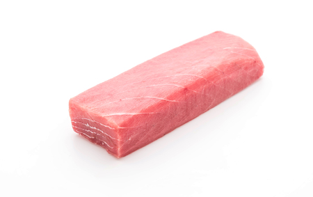 fresh tuna on white background