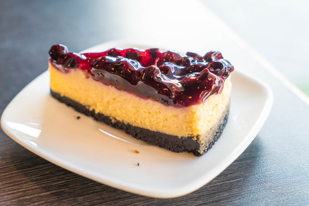 blueberry cheese cake in cafe