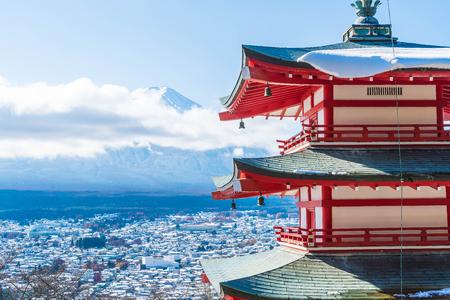 Mt. Fuji with Chureito Pagoda in autumn, Fujiyoshida, Japan.