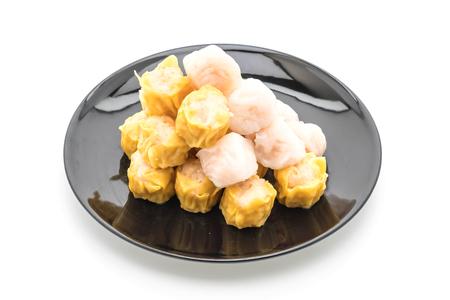 Stream shrimp dumplings on white background Stock Photo