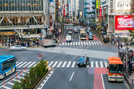 Tokio, Japón 17 Nov, 2016: Shibuya cruce de Calle de la ciudad con la gente de la muchedumbre en paso de peatones de la cebra en la ciudad de Shibuya. Shibuya es una sala especial ubicada en Tokio para ir de compras por la noche. Editorial