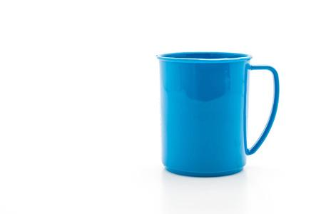 blue plastic glass on white background Stock Photo