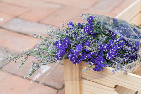 dried flower arrangement: selective focus point - bouquet flower of statis
