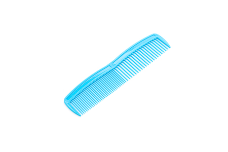 blue comb on white background Stock Photo