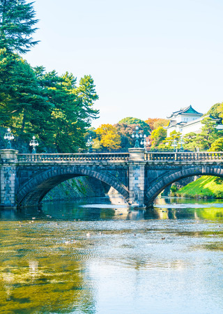 moat wall: Beautiful Imperial palace building in Tokyo, Japan