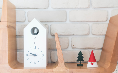 office furniture: clock on wood shelf interior decoration Stock Photo