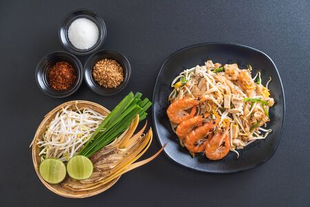 Thai Fried Noodles Pad Thai with shrimps or prawns