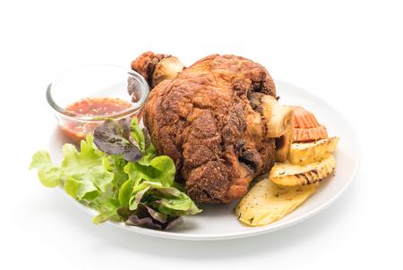 Crispy pork knuckle or German Pork Hocks on white background Stock Photo